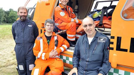 The new Magpas Helicopter, pilot Richard Eastwood, Dr Nick Foster, Phil Almond, crew member Steve Hu