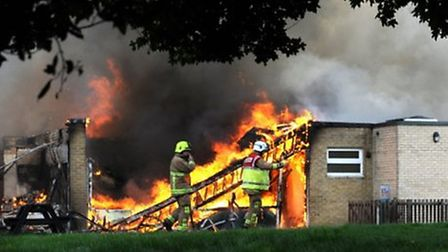 More than 30 firefighters tackled a blaze at The John Ray County Primary School in Braintree