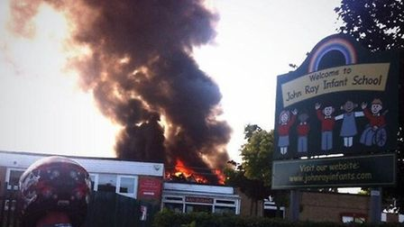 More than 30 firefighters are tackling the inferno at John Ray County Infant School, Notley Road, Br