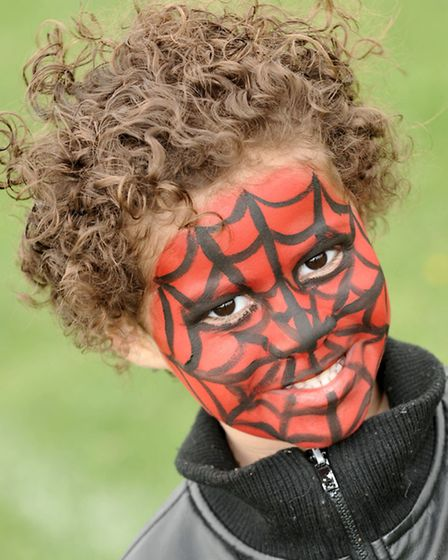 Estover Park youth FC funday. Simon Ferreira with his spiderman face paint.