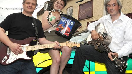 Rock Till You Drop fund-raiser for Magpas, Georges, March. Left: Nigel Marsh, Sophie Bower and Andre