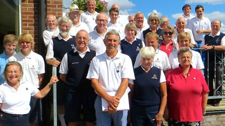 """Ely City Golf Club (UK) v Ely Golf Club (Minnesota USA). The ECGC team and the """"Ely Ryder Cup""""."""