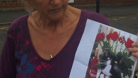 Chrissie Henry with a poster of her missing cat