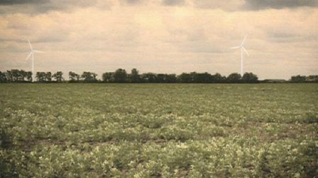 An artist's impression of how the tubines will look from the A1123, near Stretham
