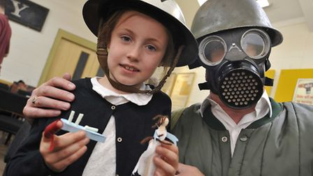 Ely Museum World War II Day, for kids half term holidays, (l-r) Emilie from Ely, with Robert Bullen