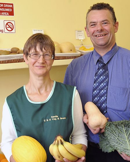 S & G Veg and Brew shop, March. Owners Sandie Stanford and Gary Tickner.