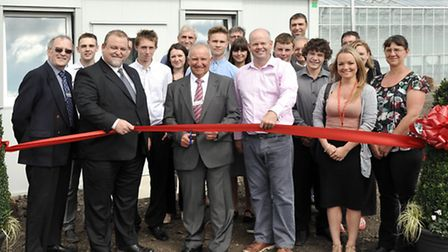 Delamore. Fenland Horticultural Academy. Official opening. Holding the ribbon is Mark Cooper Skills