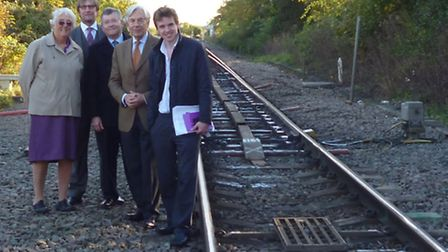 Last year an MEP visited Soham to support the rail station campaign. Left-right: Soham Town Council'
