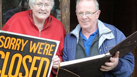 Dunhams Wood March. Margaret Dunham owner and Michael Wing in charge of the light railway. Picture: