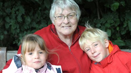 Dunhams Wood March. Margaret Dunham with her two grandchildren Annie and Christian. Picture: Steve W