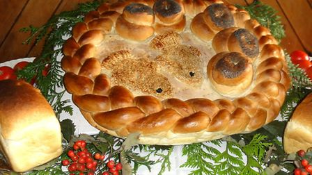 Upware harvest festival:Specially-baked 'loaves and fishes' loaf, baked by Fullers Bakery of Soham).