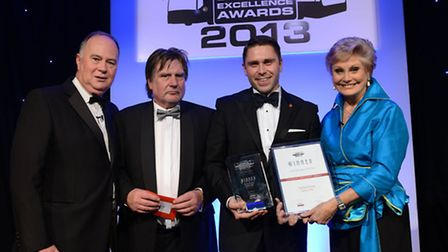 Pictured picking up the award from celebrity presenter and former BBC TV news reader Angela Rippon (