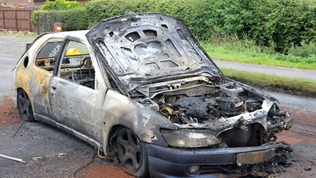 Peugeot car fire in layby on March Road Coates.