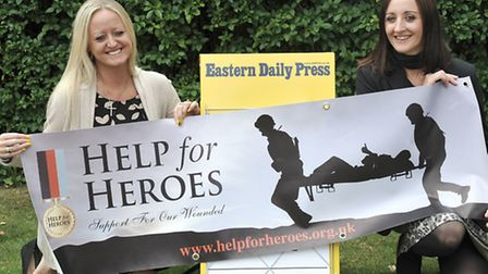 Eastern Daily Press Fenland Edition launch. Left: Debbie Smith from Help the Heroes and Reporter Kat