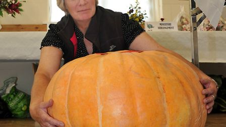 22nd Annual Flower and Vegetable and Craft show, Gorefield. Helper Julie Hastings with a winning Pum
