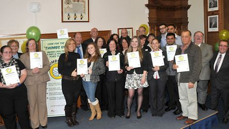 Thumbs Up presentations at FDC council chamber March. Wisbech Winners.