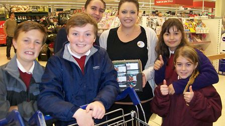 Pupils went shopping in Tesco for food items