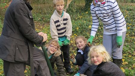 Children got to plant bulbs at St Mary's Church