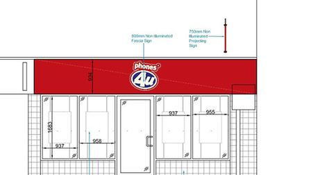 Phones4U's original plans for Ely's High Street were refused because the sign was deemed to be too r