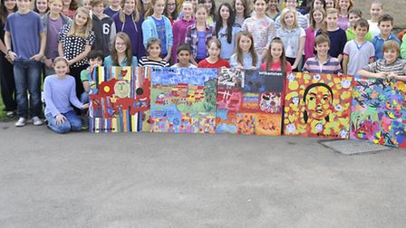 Gifted and Talented Students at Soham Village College, all of the year 7 to 9 pupils with their work
