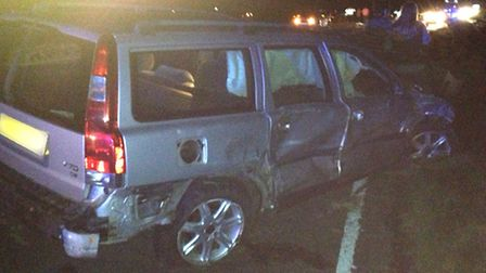 One of the cars involved in the A10 collision