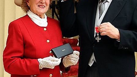 Councillor Mac Cotterell and his wife Madge when he received the MBE.