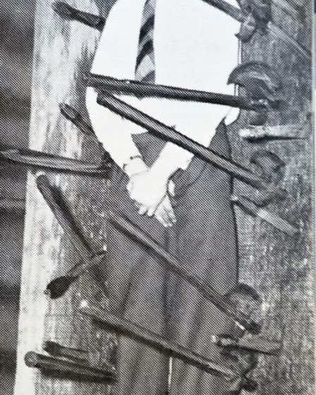 A picture that featured in an EMAP 1957 house magazine, of Cllr Cotterell having knives and hatchett