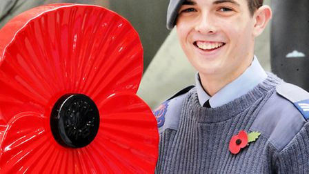 Air Cadet Sergeant Mark Green who launched The Royal British Legion's Poppy Appeal at IWM Duxford, s