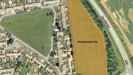 Map showing the site for 56 homes approved for New Road, Chatteris
