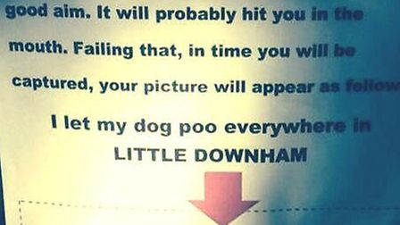 The poster which appeared around Little Downham this week