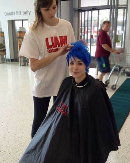 Josie gets her head shaved at Sainsbury's in Ely