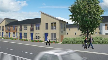 Architect's impressions of new development for site of fire gutted Blackfriars pub, Wisbech