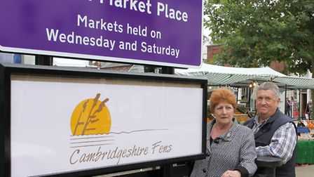 New sign at March Market place. Left: Cllr Jan French and Cllr Pop Jolly.