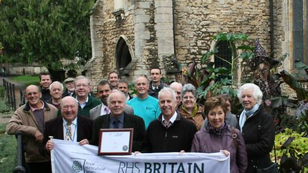 Silver medallists: members of the Wisbech In Bloom team by the Lion, the Witch and the Wardrobe disp