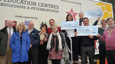Whittlesey Rotary Club members cheque presentation. Support of Life Education Classroom. With cheque
