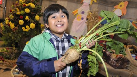 Ely Cathedral Harvest Festival, Ashwin from Ely with some sugar beet