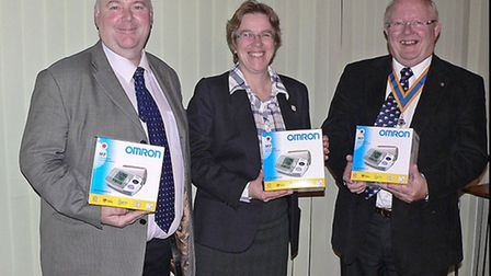 Dr Wendy Harrison, attended the Rotary Club of March to collect 9 Blood Pressure Monitors on behalf