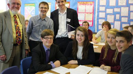 From left to right: Cllr Gareth Wilson, Cllr Ian Allen, Cllr Tom Hunt and pupils from Witchford Vill