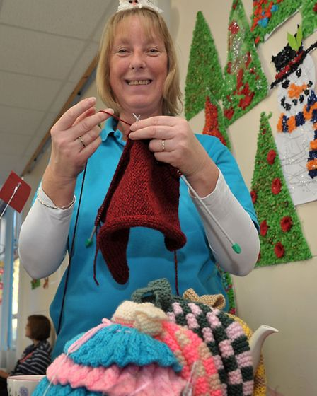 FACET Christmas market March. Jackie Gumbleton Knitting for St Johns Church Craft Group.