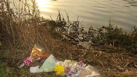 Floral tributes left at North Bank Whittlesey.