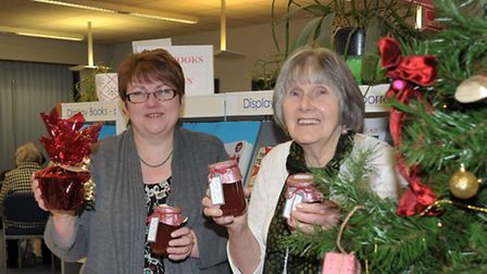 Friends of Whittlesey Library Christmas Fair. Left: Sharon Lewis and Shirley Skeats on the Jam and C