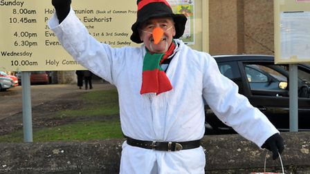 St Peters Church March,Christmas Fair. Peter Whitcombe as Frosty the Snowman.