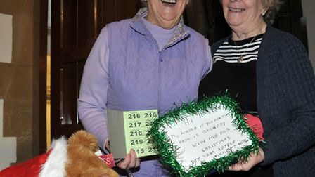 St Peters Church March,Christmas Fair. Left: Marjorie Nash and Rita Puxlty Mothers Union Teddy raffl