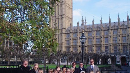 Littleport pupils outside the Houses of Parliament