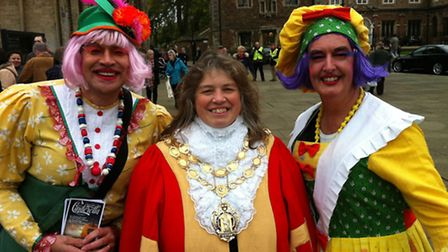 The Ugly Sisters from Cinderella meet the Mayor of Ely