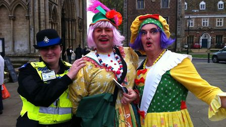 The Ugly Sisters from Cinderella meet PCSO Maria Robinson.