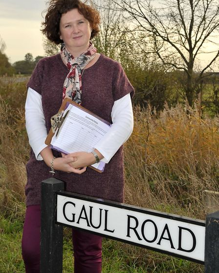 Collette Arnold at Gaul road junction with the petition.