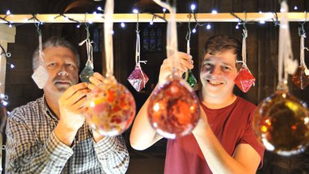 Ely Cathedral Food & Gift Fair, (l-r) Malcolm Mitchell and Stephen Jugg from The Stained Glass Museu