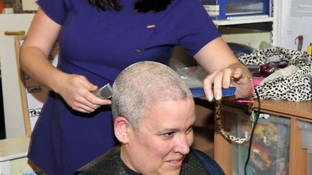 Ladybird Day Nursery, Elm Road, Wisbech. Head shave by Alison Day for nursery manager Eleanor Wallis