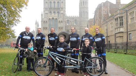 Luke and his tandem: L to R (Adults) Andy Skelhorn, Andy Moss, Robin Jones, Simon Pedley, Christian